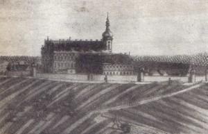 Lata 1701-1800 - XVIII-wieczny sztych ukazujący zespół klasztorny w Czarnowąsach, w którym mieściła się szkoła klasztorna